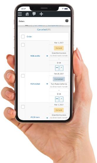 woocommerce orders screen setttings on mobile